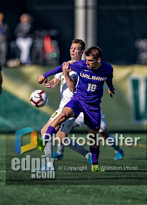 5 October 2019: University at Albany Great Dane Midfielder Andreas Assiotis, a Senior from Nicosia, Cyprus, in action against the University of Vermont Catamounts at Virtue Field in Burlington, Vermont. The Catamounts fell to the visiting Danes 3-1 in America East, Division 1 play. Mandatory Credit: Ed Wolfstein Photo *** RAW (NEF) Image File Available ***