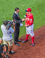 7 September 2014: Washington Nationals pitcher Drew Storen is interviewed by Dan Kolko of MASN after closing out the game against the Philadelphia Phillies at Nationals Park in Washington, DC. The Nationals defeated the Phillies 3-2 to salvage the final game of their 3-game series. Mandatory Credit: Ed Wolfstein Photo *** RAW (NEF) Image File Available ***