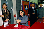 Monica Lewinsky book signing session, her autobiography Monica Story PR and fixers around her. Bookstore Salisbury Wiltshire 1999.1990s UK