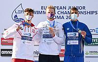 50m Backstroke Men<br /> Podium<br /> TKACHEV Aleksei A. RUS Russia Gold Medal<br /> MASIUK Ksawery POL Poland Silver Medal<br /> KOUGKOULOS Anastasios GRE Greece Bronze Medal<br /> LEN European Junior Swimming Championships 2021<br /> Rome 2179<br /> Stadio Del Nuoto Foro Italico <br /> Photo Andrea Masini / Deepbluemedia / Insidefoto