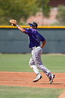 Colorado Rockies shortstop Scott Burcham (3) during an Extended Spring Training game against the Chicago Cubs at Sloan Park on April 17, 2018 in Mesa, Arizona. (Zachary Lucy/Four Seam Images)