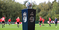 matchball pictured during the warming up of a female soccer game between Standard Femina de Liege and White Star Woluwe on the fifth matchday of the 2021 - 2022 season of Belgian Scooore Womens Super League , saturday 2 nd of October 2021  in Angleur , Belgium . PHOTO SPORTPIX   SEVIL OKTEM
