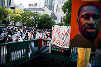 NEW YORK, NEW YORK - June 25: People take part in a protest encampment near NYC City hall on June 25, 2020 in New York, NY. Demonstrators are calling for $1 billion in cuts of NYPD, as they protest encampment near City Hall and NYPD headquarters ahead of the city July 1 budget deadline.  (Photo by Eduardo MunozAlvarez/VIEWpress)