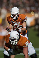 24 November 2006: Texas quarterback Colt McCoy (#12) audibles at the line of scrimmage during the Longhorns game against the Texas A&M University Aggies at the Darrell K Royal Memorial Field in Austin, TX.