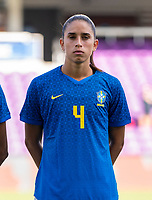 ORLANDO, FL - FEBRUARY 24: Rafaelle #4 of Brazil stands during her national anthem before a game between Brazil and Canada at Exploria Stadium on February 24, 2021 in Orlando, Florida.