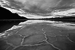 Black and white reflection of Badwater's salt pan