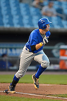 Braxton Davidson (23) of T.C. Roberson High School in Asheville, North Carolina playing for the Toronto Blue Jays scout team during the East Coast Pro Showcase on July 31, 2013 at NBT Bank Stadium in Syracuse, New York.  (Mike Janes/Four Seam Images)