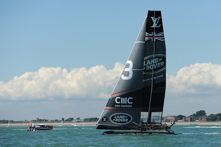 Land Rover BAR, JULY 23, 2016 - Sailing: Land Rover BAR heels during day one of the Louis Vuitton America's Cup World Series racing, Portsmouth, United Kingdom. (Photo by Rob Munro/AFLO)
