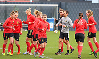 Players including Jody Vangheluwe (front) and Physical coach Cedric Lehance pictured during the training session of the Belgian Women's National Team ahead of a friendly female soccer game between the national teams of Germany and Belgium , called the Red Flames in a pre - bid tournament called Three Nations One Goal with the national teams from Belgium , The Netherlands and Germany towards a bid for the hosting of the 2027 FIFA Women's World Cup ,on 19th of February 2021 at Proximus Basecamp. PHOTO: SEVIL OKTEM | SPORTPIX.BE
