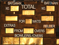 Low sun hits the scoreboard during the game - Essex Eagles vs Middlesex Panthers - Clydesdale Bank CB40 Cricket at the Ford County Ground, Chelmsford -  02/09/10 - MANDATORY CREDIT: Gavin Ellis/TGSPHOTO - Self billing applies where appropriate - Tel: 0845 094 6026