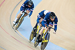 The team of France with Benjamin Edelin, Quentin Lafargue and Sebastien Vigier compete in Men's Team Sprint Finals match as part of the 2017 UCI Track Cycling World Championships on 12 April 2017, in Hong Kong Velodrome, Hong Kong, China. Photo by Victor Fraile / Power Sport Images