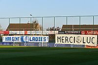 Banners KAA Gent Ladies and Merci Luc pictured before a female soccer game between  AA Gent Ladies and Club Brugge YLA on the third matchday of play off 1 in the 2020 - 2021 season of Belgian Scooore Womens Super League , friday 23 th of April 2020  in Oostakker , Belgium . PHOTO SPORTPIX.BE   SPP   STIJN AUDOOREN