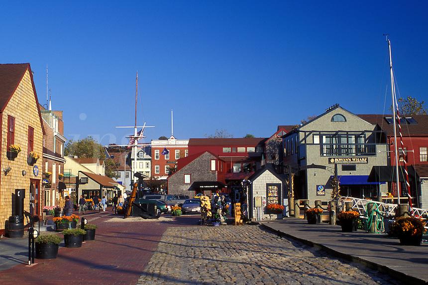 Newport, Rhode Island, RI, Shops along the cobblestone street at Bowen's Wharf in Newport in the autumn.