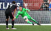 DENVER, CO - JUNE 6: Ethan Horvath #12 of the United States saves an Andres Guardado #10 PK during a game between Mexico and USMNT at Empower Field at Mile High on June 6, 2021 in Denver, Colorado.