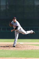 Scottsdale Scorpions relief pitcher Ty Boyles (43), of the Cincinnati Reds organization, follows through on his delivery during an Arizona Fall League game against the Glendale Desert Dogs at Camelback Ranch on October 16, 2018 in Glendale, Arizona. Scottsdale defeated Glendale 6-1. (Zachary Lucy/Four Seam Images)