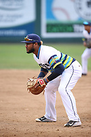 Onil Pena (22) of the Everett AquaSox in the field during a game against the Boise Hawks at Everett Memorial Stadium on July 21, 2017 in Everett, Washington. Boise defeated Everett, 10-4. (Larry Goren/Four Seam Images)