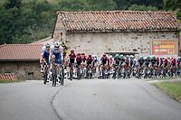 peloton led by some serious diesel power provided by Kasper Asgreen (DEN/Deceuninck - QuickStep), Tony Martin (DEU/Jumbo-Visma) & Tim Declercq (BEL/Deceuninck - Quick Step)<br /> <br /> Stage 1: Clermont-Ferrand to Saint-Christo-en-Jarez (218km)<br /> 72st Critérium du Dauphiné 2020 (2.UWT)<br /> <br /> ©kramon