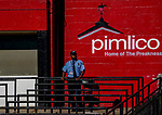 October 3, 2020: Stands sit empty and guarded by a security guard during Preakness Stakes Day at Pimlico Race Course in Baltimore, Maryland. Scott Serio/Eclipse Sportswire/CSM