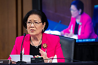 United States Senator Mazie Hirono (Democrat of Hawaii) delivers remarks during the confirmation hearing for US Supreme Court nominee Judge Amy Coney Barrett before the Senate Judiciary Committee on Capitol Hill in Washington, DC, USA, 15 October 2020. Barrett was nominated by President Donald Trump to fill the vacancy left by Justice Ruth Bader Ginsburg who passed away in September.<br /> Credit: Shawn Thew / Pool via CNP /MediaPunch