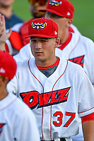 Matt Thaiss (37) of the Orem Owlz post game against the Grand Junction Rockies in Pioneer League action at Home of the Owlz on July 6, 2016 in Orem, Utah. The Owlz defeated the Rockies 9-1 in Game 1 of the double header.   (Stephen Smith/Four Seam Images)