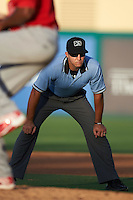 Umpire Justin Robinson during a game between the Palm Beach Cardinals and Jupiter Hammerheads on August 13, 2016 at Roger Dean Stadium in Jupiter, Florida.  Jupiter defeated Palm Beach 6-2.  (Mike Janes/Four Seam Images)