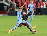WASHINGTON, DC - SEPTEMBER 06: Jesus Medina #19 of New York City FC fights for the ball with Mohammed Abu #25 of D.C. United during a game between New York City FC and D.C. United at Audi Field on September 06, 2020 in Washington, DC.
