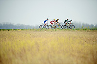 lead breakaway of 5: Laurens De Vreese (BEL/Wanty-GroupeGobert), Maxime Daniel (FRA/AG2R-LaMondiale), Jérôme Cousin (FRA/Europcar), Jay Thomson (RSA/MTN-Qhubeka) & Florian Senechal (FRA/Cofodis)<br /> <br /> 57th E3 Harelbeke 2014