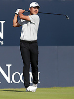 17th July 2021; Royal St Georges Golf Club, Sandwich, Kent, England; The Open Championship Golf, Day Three; amateur player Yuxin Lin (CHN) hits his tee shot on the opening hole