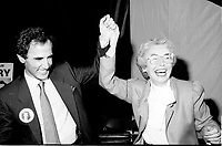 """Montreal (QC) Canada- -July 31 1984  File Photo -  William Dery (L) and<br /> Sheila Finestone (R) choosen as liberal candiate for the  riding of Mount Royal over William Dery (L)... In 1984 she was elected as a Liberal Member of Parliament for the Montreal riding of Mount Royal. She was re-elected in the 1988, 1993 and 1997 elections.<br /> <br /> Finestone was sworn to the Privy Council in November 1993 as Secretary of State (Multiculturalism and Status of Women). Finestone was appointed to the Senate of Canada in August 1999. She completed her term in the Senate in 2002 when she reached the mandatory retirement age of 75.<br /> <br /> She was a member of the board of the Canadian Landmine Foundation.<br /> <br /> In 2008, Finestone was the recipient of the Distinguished Service Award of the Canadian Association of Former Parliamentarians,[2] """"presented annually to a former parliamentarian who has made an outstanding contribution to the country and its democratic institutions.""""[3] The award was accepted on her behalf by her son Peter, due to Finestone's inability to attend, following health challenges.[4]"""