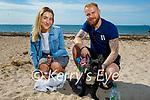 Taking Baxter for a walk on Derrymore beach on Saturday, l to r: Ksenija Karpovic and Marek Skibimski.