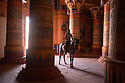 Morocco - Ouarzazate - Noureddine Iken, 37 rides a horse inside a structure served as either a castle or a temple in several movies including Ben Hur, Hercules, The Physician, Cleopatra and King Tut. <br /> Originally from the village of Tamassinte, Iken lives just in front of the main film studio in Ouarzazate. Nine years ago, his passion for horses has pushed this man of 34 to start working as a stuntman in Asterix and Obelix: Mission Cleopatra. Since then, Iken has performed in several movies and documentaries, including The Physician and The Ten Commandments, mainly performing in combats and horse falls.