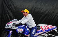 Nov. 12, 2011; Pomona, CA, USA; NHRA pro stock motorcycle rider Hector Arana Jr during qualifying at the Auto Club Finals at Auto Club Raceway at Pomona. Mandatory Credit: Mark J. Rebilas-.