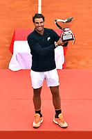 Rafael Nadal durant la finale du Monte Carlo Rolex Masters 2017 qui a opposé Rafael Nadal à Albert Ramos-Vinolas sur le court Rainier III du Monte Carlo Country Club à Roquebrune Cap Martin le 23 avril 2O17. Nadal a remporté le match en 2 sets, 6/1 - 6/3. Il remporte ici ce tournoi pour la dixième fois.