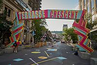 le centre-ville durant l'été a Montréal en Juillet  2021.<br /> <br /> 2021 est un été ponctué de vagues de chaleur extremes<br /> <br /> PHOTO : Agence Quebec Presse - Pierre Tran
