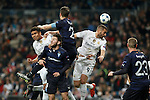 Real Madrid´s Danilo and Karim Benzema and Malmo´s Rakip during 2015/16 Champions League soccer match between Real Madrid and Malmo at Santiago Bernabeu stadium in Madrid, Spain. December 08, 2014. (ALTERPHOTOS/Victor Blanco)