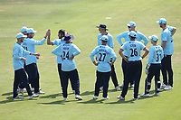 Shane Snater of Essex celebrates with his team mates after taking the wicket of Nick Gubbins during Hampshire Hawks vs Essex Eagles, Royal London One-Day Cup Cricket at The Ageas Bowl on 22nd July 2021