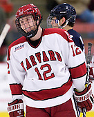 Colin Moore (Harvard - 12) - The Harvard University Crimson defeated the visiting Yale University Bulldogs 8-2 in the third game of their ECAC Quarterfinal matchup on Sunday, March 11, 2012, at Bright Hockey Center in Cambridge, Massachusetts.