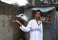 Addis Abeba,Etiopia. Ragazzo con piccioni .boy with pigeon