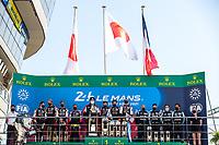 #7 Toyota Gazoo Racing Toyota GR010 - Hybrid Hypercar, Mike Conway, Kamui Kobayashi, Jose Maria Lopez, #8 Toyota Gazoo Racing Toyota GR010 - Hybrid Hypercar, Sébastien Buemi, Kazuki Nakajima, Brendon Hartley, #36 Alpine Elf Matmut Alpine A480 - Gibson Hypercar, André Negrão, Nicolas Lapierre, Matthieu Vaxiviere, 24 Hours of Le Mans , Podium, Circuit des 24 Heures, Le Mans, Pays da Loire, France