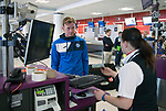 FK Trakai v St Johnstone…05.07.17… Europa League 1st Qualifying Round 2nd Leg<br />St Johnstone midfielder Liam Craig checks in for the flight to Vilnius in Lithuania at Edinburgh Airport<br />Picture by Graeme Hart.<br />Copyright Perthshire Picture Agency<br />Tel: 01738 623350  Mobile: 07990 594431