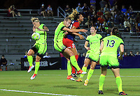 Boyds, MD - Wednesday Sept. 07, 2016: Jessica Fishlock, Beverly Yanez, Estelle Johnson during a regular season National Women's Soccer League (NWSL) match between the Washington Spirit and the Seattle Reign FC at Maureen Hendricks Field, Maryland SoccerPlex.