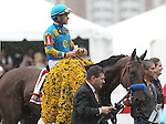 May 16, 2015: American Pharoah, Victor Espinoza up,  wins the Preakness Stakes at Pimlico Race Course in Baltimore, MD. Trainer is Bob Baffert; owner is Ahmed Zayed