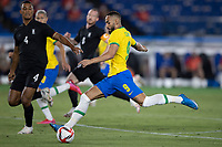 22nd July 2021; Stadium Yokohama, Yokohama, Japan; Tokyo 2020 Olympic Games, Brazil versus Germany; Matheus Cunha of Brazil takes a shot past Felix Uduokhai of Germany