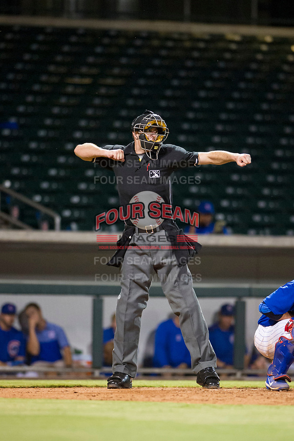 MiLB home plate umpire Andrew Clark makes a strikeout call during the game between the AZL Diamondbacks and AZL Cubs on August 11, 2017 at Sloan Park in Mesa, Arizona. AZL Cubs defeated the AZL Diamondbacks 7-3. (Zachary Lucy/Four Seam Images)