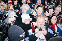 People gather around to meet Texas senator and Republican presidential candidate Ted Cruz after he spoke at a Second Amendment Rally outside Granite State Indoor Range in Hudson, New Hampshire.