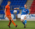 St Johnstone v Kilmarnock.....28.02.15<br /> Frazer Wright is closed down by Mark O'Hara<br /> Picture by Graeme Hart.<br /> Copyright Perthshire Picture Agency<br /> Tel: 01738 623350  Mobile: 07990 594431