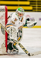 13 November 2015: University of Vermont Catamount Goaltender Madison Litchfield, a Junior from Williston, VT, in first period action against the Providence College Friars at Gutterson Fieldhouse in Burlington, Vermont. The Lady Friars defeated the Lady Cats 4-1 in Hockey East play. Mandatory Credit: Ed Wolfstein Photo *** RAW (NEF) Image File Available ***