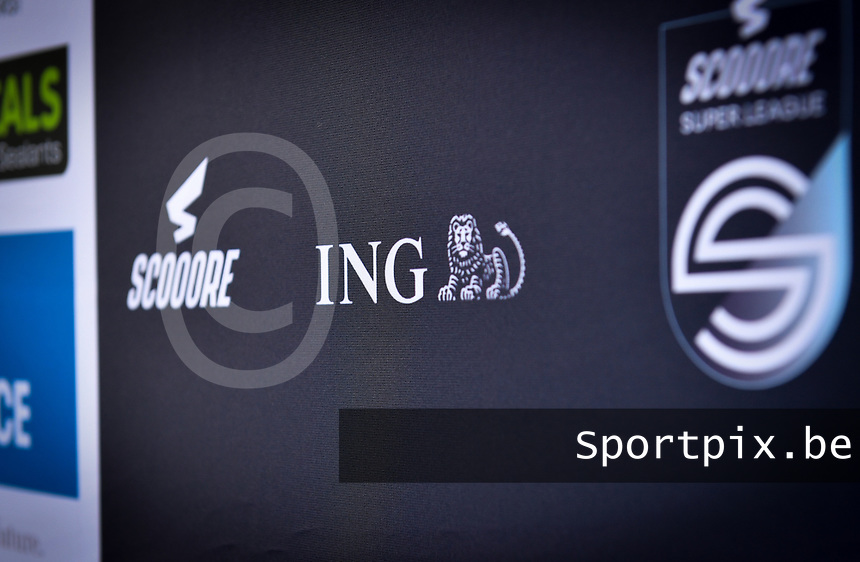 ING Bank logo pictured on a banner during a female soccer game between Zulte Waregem and the KAA Gent Ladies on the fourth matchday of the 2020 - 2021 season of Belgian Scooore Womens Super League , saturday 10 October 2020  in Waregem , Belgium . PHOTO SPORTPIX.BE | SPP | DAVID CATRY