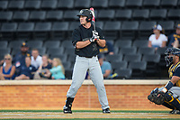 Ben Breazeale (39) of the Wake Forest Demon Deacons at bat against the West Virginia Mountaineers in Game Six of the Winston-Salem Regional in the 2017 College World Series at David F. Couch Ballpark on June 4, 2017 in Winston-Salem, North Carolina.  The Demon Deacons defeated the Mountaineers 12-8.  (Brian Westerholt/Four Seam Images)