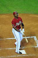 Jun. 1, 2011; Phoenix, AZ, USA; Arizona Diamondbacks outfielder Justin Upton against the Florida Marlins at Chase Field. Mandatory Credit: Mark J. Rebilas-